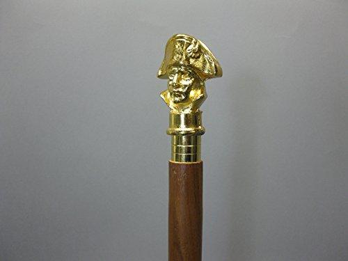 Militaire bois Canne Canne Bâton de marche Napoleon 94 cm avec poignée en laiton Walking Clé M 92