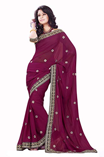 MirchiFashion Indische Kleider Damen Sari mit Ungesteckt ungesehen Oberteil/Bluse Party Indians Saree Kleidung