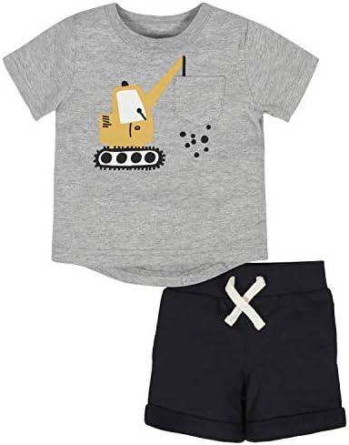GERBER Baby Boys 2 Piece Tee and Short Set Grey Crane 6 9 Months product image