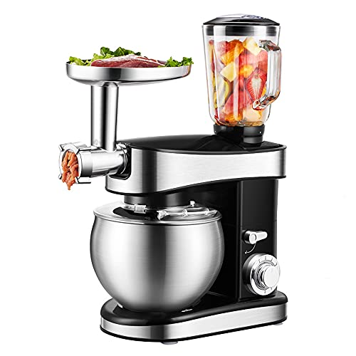 3 in 1 Stand Mixer, Tilt-Head Multifunctional Electric Mixers with Stainless Steel...