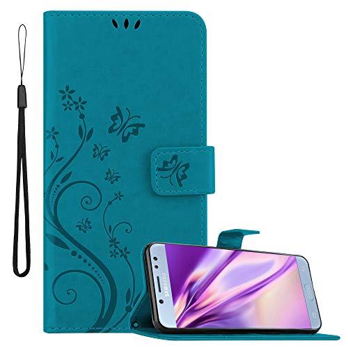 Cadorabo Funda Libro para Samsung Galaxy J5 2017 en Azul Floral – Cubierta Proteccíon en Diseño de Flor con Cierre Magnético, Función de Suporte e 3 Tarjeteros - Etui Case Cover Carcasa