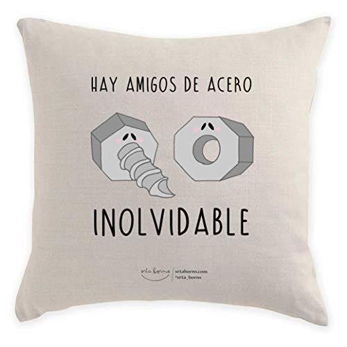 srta. borns Cojín Regalo Amigo - Hay Amigos de Acero inolvidable (40x40 cm)