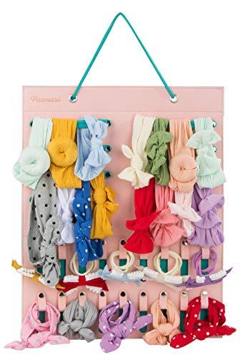 Hanging Baby Girl Headbands Storage Organizer, Newborn Headbands and Bows Holder(10 Snap Band+18 Snaps,Pink+Green)