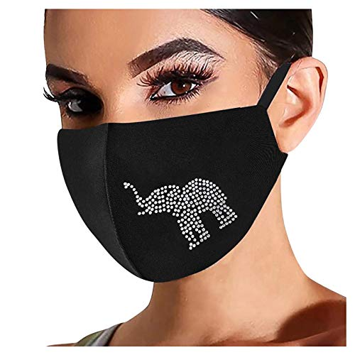1Pc, Rhinestone Shiny Face_Mask Washable for Women, Breathable Cloth Fabric_Masks Reusable for Nose and Mouth Protection, as, 1224 Style_228