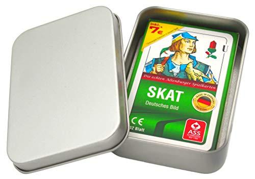 Ass Altenburger Skat Spielkarten - Deutsches Bild / Blatt Kornblume - Kartenspiel mit Metalldose Made in Germany + Faltschachtel + 7€ Onlinespiel-Gutschein