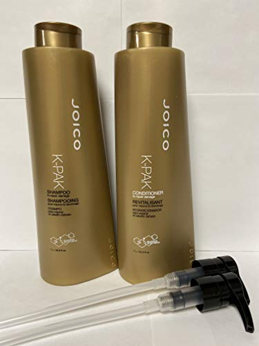 Price comparison product image Joico K-Pak Shampoo and Conditioner Liter Duo Set,  33.8 oz WITH PUMPS