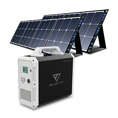 MAXOAK BLUETTI EB150 Portable Power Station with 2Pcs Solar Panel SP120 Included, Solar Generator 1000W AC Inverter for Home Use Lithium Battery Backup Solar Bundle Kit for Power Outage RV Outdoor