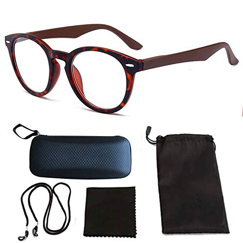 HUOFU 老眼鏡 ルーペメガネ 拡大鏡 おしゃれ 拡大鏡めがね レディース メンズ PCメガネ 軽量 男女兼用 収納ケース付(茶 +3.0)