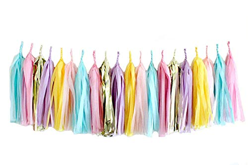 30 PCS Tissue Paper Tassel DIY Party Garland for Birthday, Bridal Shower, Baby Shower, and All Events(Unicorn Pastal)