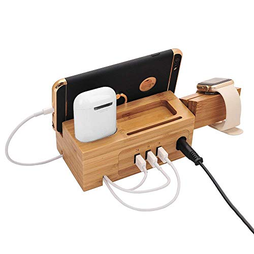 AICase Watch Ständer Handy Aus Holz Bambus 3 Anschlüsse USB Ladestation universal multifunktionelle Ladestation und Kabel Organizer Docking Station Ladestation für AirPods/iWatch Series3/2/1/iPhone