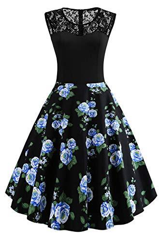 Axoe Damen 50er Jahre Rockabilly Kleid mit Blumenmuster Ärmellos, Farbe12, XXL (46 EU)