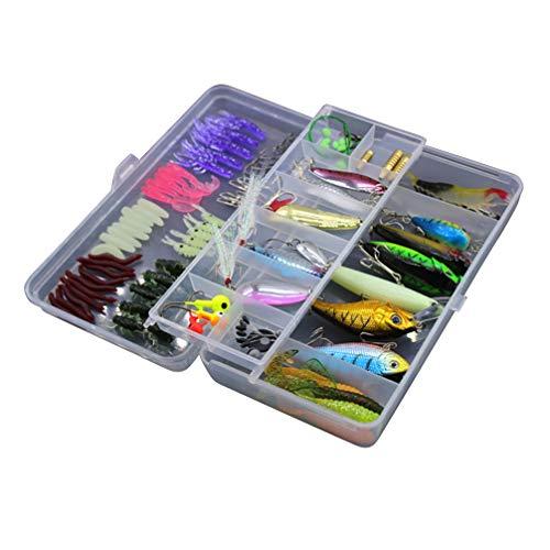 Kit de iscas artificiais LIOOBO com 101 peças, de aço carbono, multifuncional, caixa de pesca, iscas de água doce para pescadores, jogadores pescadores, pescadores