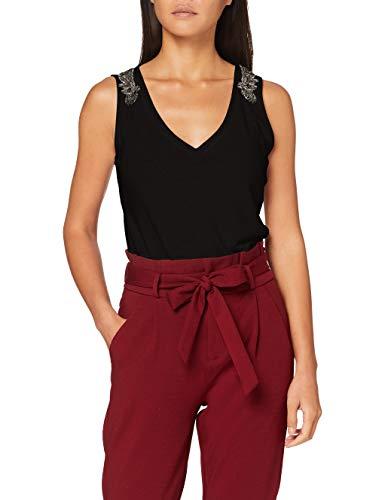 Morgan Débardeur Lin Bijoux Épaules Daja Camiseta, Negro, TM para Mujer