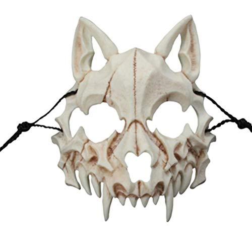 ADIUMA Maske für Herren, Wolf, japanischer Drachen, Halloween, Skelettmaske, Tier, Cosplay, Show, Party, aus Harz, Unisex
