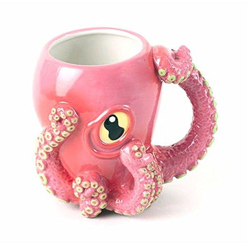 Smith's Oktopus Keramik 3D Kaffeebecher mit Tentakel-Griff (Pink)