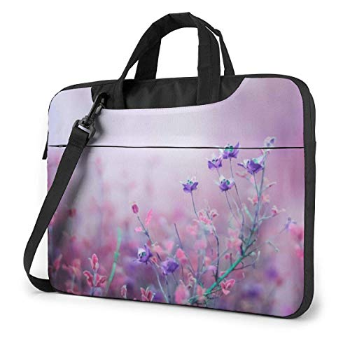 Laptop Tote Bag, Vibrant Purple Flowers Protective Laptop Sleeve Cover with Strap Fits 13-15.6in Laptop for Office