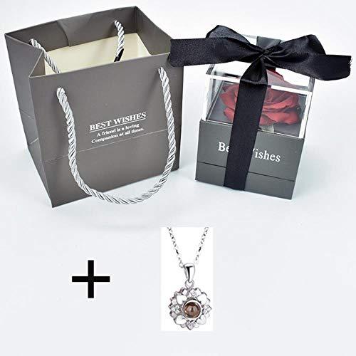 Ontvouw bloem roos Sieradendoos met verrassing 100 talen Ik hou van je Ketting Vreemde cadeau voor moeder vriendin, doos met ketting 12