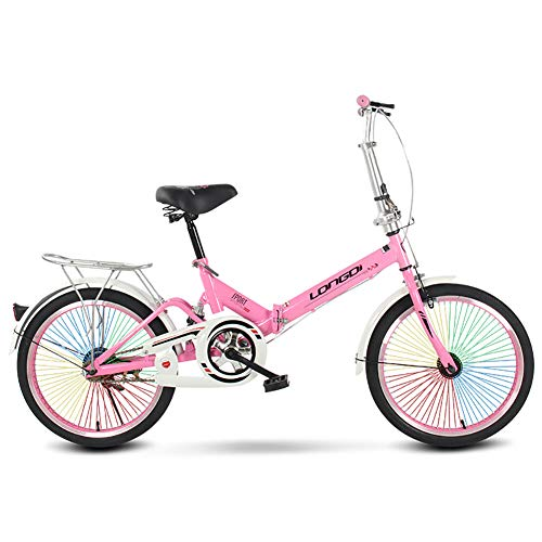 Nileco Unisex Bicicleta Plegable,20 Pulgadas Absorción de Impactos Bicicleta para Hombres Y Mujeres con Coloridos Radios Bicicleta para Adultos