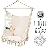 Kanchimi Hanging Chair-Max 330 Lbs.Large Hammock Chair with Detachable Metal Support Bar& Side Pocket.Hanging Rope Swing for Patio Bedroom or Tree- 2 Removable Seat Cushions Included?White?