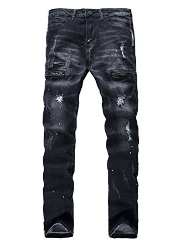 Men's Zipper deco Stretch jeans with Broken hole 38 Black