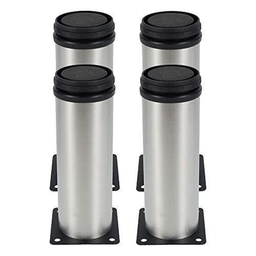 ATopoler 4Pezzi Rotondi Gamba per Mobili in Acciaio Inossidabile, Piedi Rotondi Regolabili in Acciaio, Altezza regolabile 0-15mm Vieni con Viti in Acciaio Inossidabile (50x150mm)