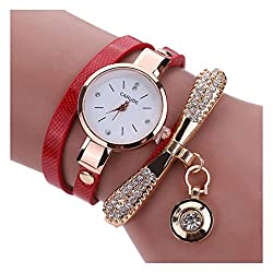 White Leather Rhinestone Analog Quartz Wrist Watch