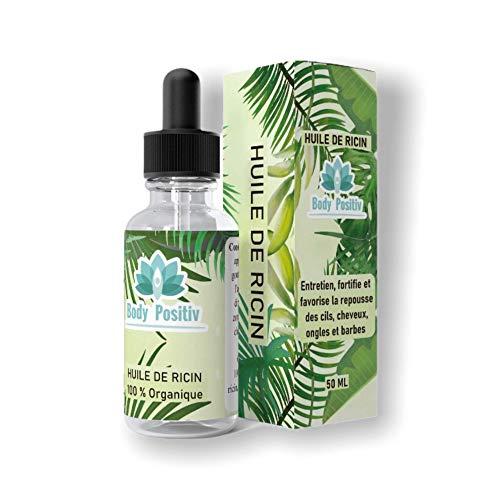 HUILE DE RICIN 100%, 50 ML avec pipette, idéal pour la repousse des cils,des ongles, l'entretien de la barbe, fortifie et favorise la pousse des cheveux.