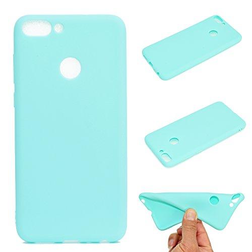 LeviDo Coque Compatible pour Huawei P Smart/Enjoy 7S Étui Silicone Souple Bumper Antichoc TPU Gel Ultra Fine Mince Caoutchouc Bonbons Couleurs Design Etui Cover, Bleu Vert