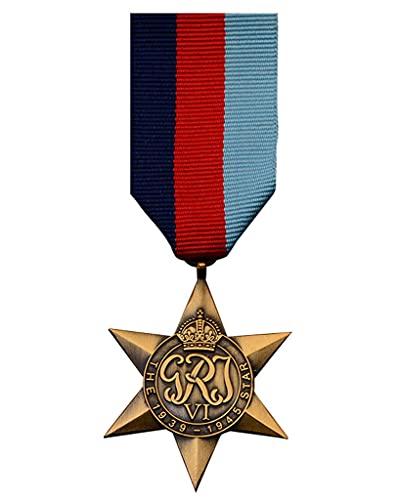 JXS Recuerdo de la Insignia de Honor de la Segunda Guerra Mundial, réplica de la Medalla de la Estrella británica, réplica de Material de aleación 1: 1, colección de Insignias Militares