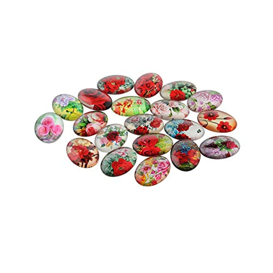 ARRICRAFT 200pcs Flower Printed Glass Cabochons 13x18mm Flat Back Oval Cabochon Beads for Necklace Embellishment DIY Jewelry Making