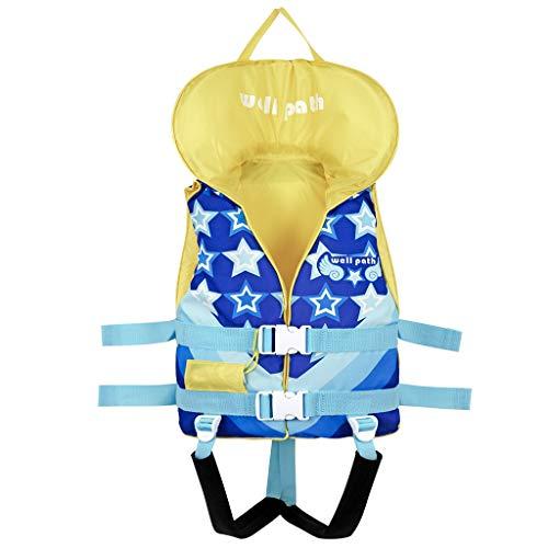 子供用 ライフジャケット スノーケリングベスト 幼児フローティング 救命胴衣 緊急ホイッスルと調節可能なシートベルトを備えた浮力の水着 スイミング補助具 川遊び 釣り ボート 海水浴 強い浮力 安全安心 (ブルースター, XS)
