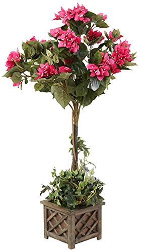 Nearly Natural 5227 34in. Bougainvillea Topiary with Wood Box,Beauty, 24' x 24'...