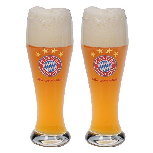 FC Bayern München Weizenglas / Bierglas / Hefeweizenglas / Glas 2er Set FCB plus gratis Aufkleber forever München