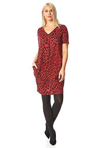 Roman Originals Vestido de mujer de piel sintética con bolsillos con ribete de cuello redondo, manga corta, con textura de túnica – Vestidos de moda para fiestas informales y casuales