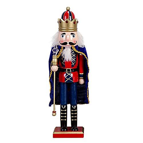 Schiaccianoci Soldato Re di Legno con Mantellina, 38 cm di Altezza, Burattino Dipinto a Mano Pupazzo, Statuetta Nutcracker Soldier King Decorazione Regalo Natale per Bambini - Blu
