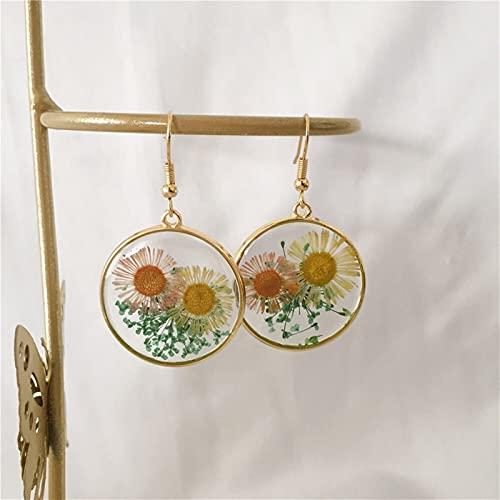 QWEQWE Pendientes Vintage Pendientes de Flores geométricas para Mujeres Girl Resin Drop Pendientes Joyería (Metal Color : ZE50023)
