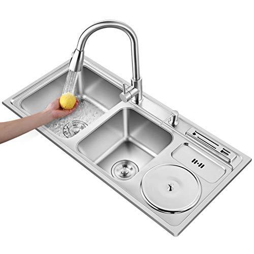 HHTX Lavello da Cucina in Acciaio Inossidabile, lavelli Quadrati a Doppia Vasca con poggia-Coltello e pattumiera, Inclusi Dispenser di Sapone e raccordi di drenaggio