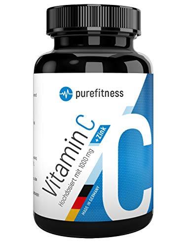 Purefitness 180 Tabletten Vitamin C 1000mg hochdosiert mit Zink I Natürlicher Vitamin-C Zink Komplex ohne Zusätze I Bioverfügbares Vitamin C vegan