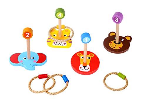 Tooky Toy Jeux en bois - jungle Jeu de lancé d'anneaux avec des figures d'animaux en bois, Multicolore