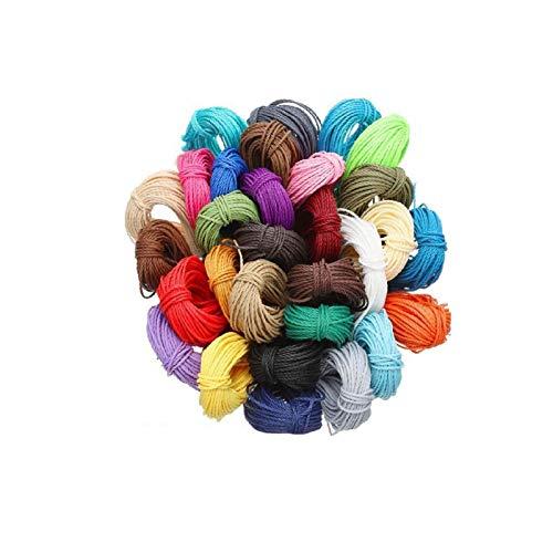 aniceday Hilo encerado para cuentas, 30 colores, 1 mm, de poliéster encerado, cuerdas para pulseras y collares, 1 m de cada color