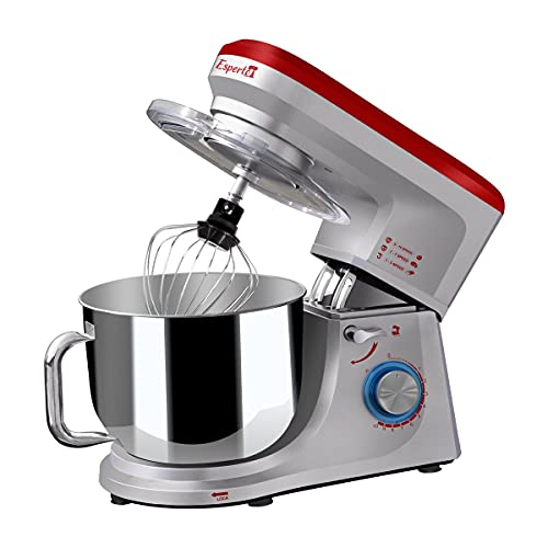 INALSA Stand Mixer Professional Esperto-1400W | 100% Pure Copper Motor| 6L SS Bowl| Includes Whisking Cone, Mixing Beater & Dough Hook (Silver/ Red)
