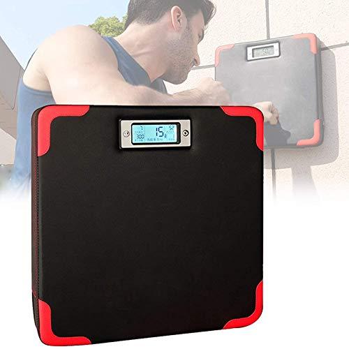 Asolym Intelligentes Wand-Locher-Pad mit Digitalanzeige, Quadratische Target-Strike-Tasche aus Leder, 9-Fuß-Composite-Board-Box-Trainingspad, Platz sparen, 40 x 40 x 6,5 cm