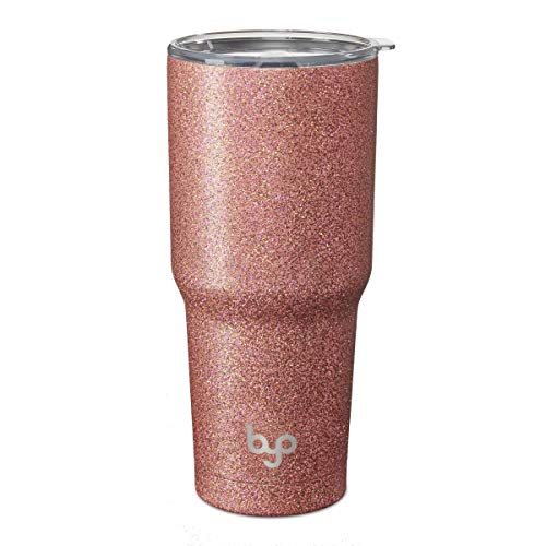 BYO by BUILT 30 Ounce Double Walled Stainless Steel Tumbler Rose Gold Glitter 5237748
