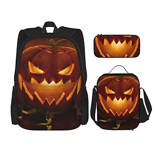 Terug naar school benodigdheden Pompoen Spooky Halloween Studenten 3 In 1 School Rugzak Set Lichtgewicht Rugzak/Lunch…