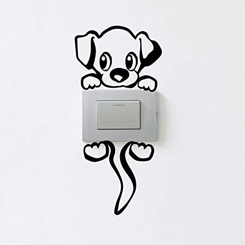 Stickers adhésifs Prises et Interrupteurs | Sticker Autocollant Petit Chien Charmeur - Décoration Murale Chambre Enfant | Imperméable et Amovible - 12 x 8 cm
