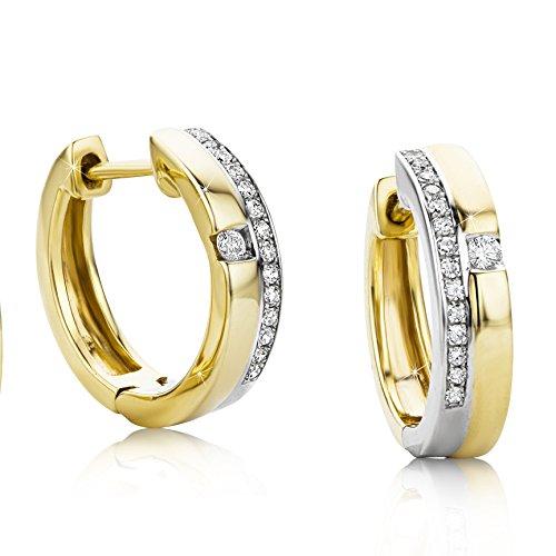 Orovi Damen -Creolen,mit Diamnten Ohrringe Zweifarb/Weißgold und Gelbgold 9Karat (375) Ohr-Schmuck Brillanten 0.14crt