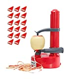 Electric Potato Peeler Automatic Apple Rotato + 18 Replaceable Blades Electric Fruits Vegetables Peeler,COWSTOOK(Red)
