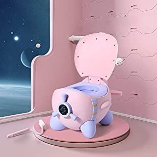 Portable Kids Plastic Toilet Baby Potty Chair Toilet For Free Potty Brush baby toilet seat (Color : Pink)