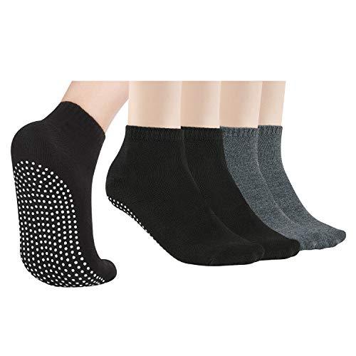 4 Pares de Calcetines Antideslizantes Para Mujeres y Hombres Calcetines de Agarre Para Yoga Barra en Casa Pilates Entrenamiento en el Hospital
