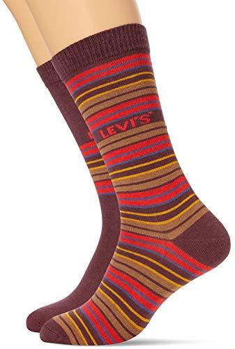 Levi's Unisex-Adult Multicolour Stripe Regular Cut (2 Pack) Sock, neon red, 43/46 (2er Pack)